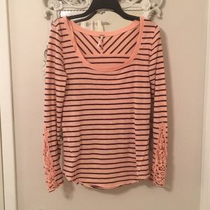 Free People lace sleeve striped tee, size M
